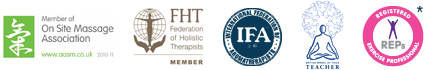 Complimentary & Natural Healthcare Council (Registered), Member of On Site Massage Association, Federation of Holistic Therapists (Member), International Association of Aromatherapists, Yoga (Teacher), Registered Exercise Professional